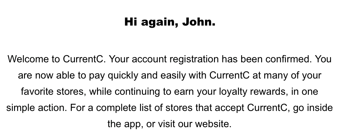 Screenshot of the account confirmation email