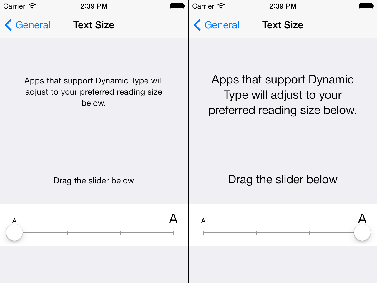 Screenshot of the Text Size preferences in Settings