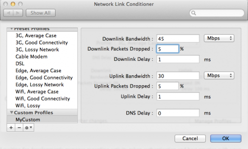 Network Link Conditioner Custom Values