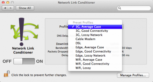 Network Link Conditioner Preset Values