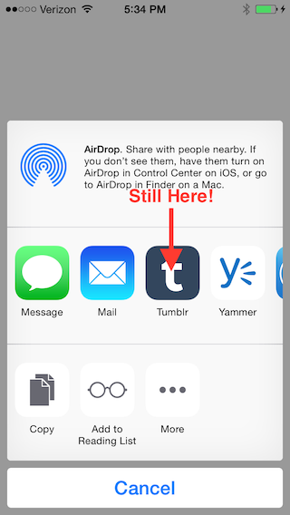 iOS 8.1's share sheet with Tumblr